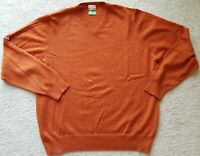 TailorByrd Italian Merino Wool Orange V-Neck Pullover Sweater Size Large NWOT