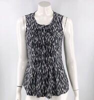 Pendleton Womens Top Size 4 Black White Silk Pintuck Button Up Sleeveless Blouse