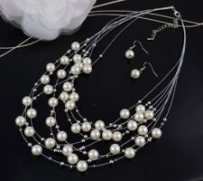 SILVER TONE MULTI-STRAND FLOATING CREAM  FAUX PEARL NECKLACE &  EARRINGS  SET