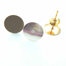 20 EARRING POST STUDS BLANKS 10 Pairs - 10mm Pad - Choice of Colour & Back Type