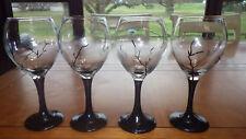Water Glasses Wine Glasses Black Stem Tree Branch Hand Painted OOAK unique 4 13z