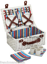 Kitchen Craft Marina 4 Person Picnic Basket - Nautical - Fitted Wicker Hamper