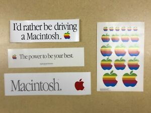 Very Rare Set of 4 (four) Very Cool Apple Computer and Apple Macintosh Stickers