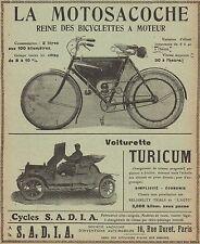 Y7592 Motosacoche & Voiturette TURICUM - Pubblicità d'epoca - 1910 Old advert