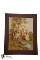 "20"" Watercolor Landscape Painting Signed Pinglay Cottage Lake Trees Woodland"