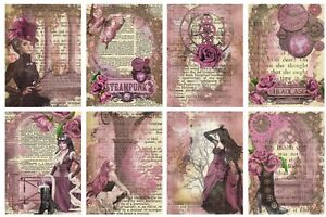 PINK STEAMPUNK  - 2 x A4 SHEETS OF CARD TOPPERS -  SCRAPBOOKING - 250GSM