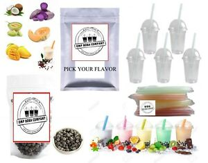 Boba Bubble Tea Kit DIY Makes 10+ Drinks cups straws boba Included Free Sticker