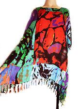 Señoras multicolor abstracto impresión Kaftan Poncho túnica Playa Grande Talla Plus Nueva
