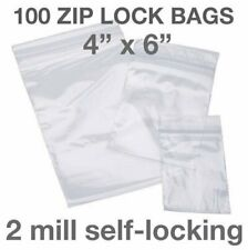 100 Piece 4 X 6 2mil Zip Lock Loc Poly Reclosable Plastic Bags Clear Packaging