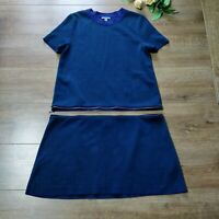 Cos navy blue green two piece zip detail lagenlook shift dress size M UK 10 12
