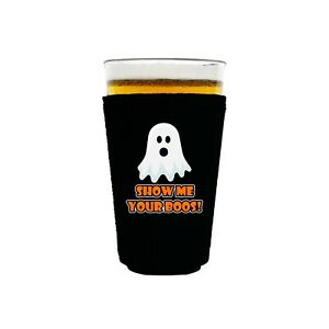 Show Me Your Boos! Neoprene Collapsible Pint Glass Coolie; halloween, ghost