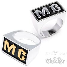 MC Bikerring Massiv Edelstahl Motorrad Motorcycle Club Silber Gold Ring Rocker
