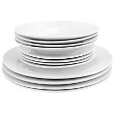 Sunnex 12 Piece White Porcelain Dinner Set Plates Dishwasher Microwave Safe