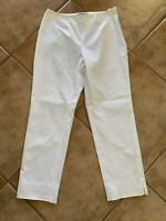 Brooks Brothers Womens Sz 12 White NATALIE FIT Career Pants Straight Flat Front