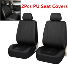 2x Black PU Leather Car Seat Covers Front Row Seat Protector w/Headrest Cover