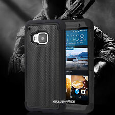 HTC ONE M9 Case Hybrid Armor Dual Shockproof [Carbon Texture + Full Protection]