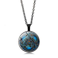 Unisex Blue Celtic Triquetra Glass Pendant Necklace Fashion Jewelry Black FT