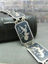 Vintage Black Enamel Siam Sterling Silver Mekala Link Bracelet