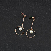 Cute Ball Circle Stick Tassels Pearl Rose Gold GP Surgical Steel Stud Earrings