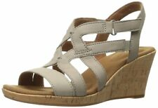 Rockport Women's Briah Caged Wedge Sandal 9.5 New Taupe Nubuck