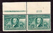 US 323 1c Louisiana Purchase Mint Top MI Plate Pair #2115 F-VF OG NH SCV $170