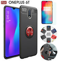 Metal Ring Holder Buckle Shockproof Cover Case + Tempered Glass For OnePlus 6T