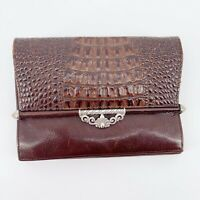 Brighton Alligator Embossed Leather Clutch Wallet Brown Silver Organizer Wallet