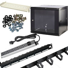 Wall Mounted Data Cabinet install bundle Cage Nuts,PDU,Shelves,Cable Management