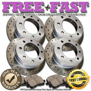 K0726 FRONT+REAR Drilled BLACK Rotors Pads FOR 2000 2001 2002 Ram 2500 Ram 3500