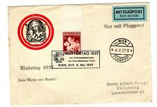 Austria 1937 Mother'S Day Air Mail Cover & Mother'S Day Stamp, Unique Cancel