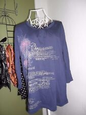 NEW Capture Size 12 Loose Fit 3/4 Sleeve Cotton Top, Indigo, Blue Printed