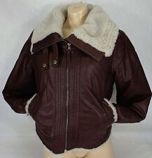 New Juniors Womens CONVERSE Large Brown Leather Bomber Jacket $798 P411W804