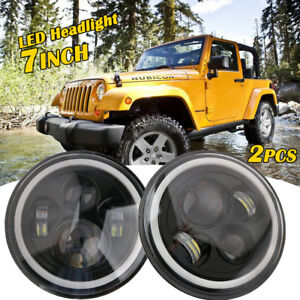 "2X 7"" Inch Round Angel Eye LED Headlight Hi/Lo For JEEP JK TJ LJ 97-17"