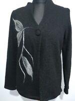 ORLA from TIVOLI Black Boiled Wool Jacket Cardigan Sz Large fits 14/16 Flower