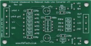 1-channel OPA2134 based Low Distortion Differential Line Driver PCB ONLY DIY
