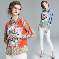 2019 Spring Summer Baroque Print OL Women Casual Long Sleeve Top Shirts Blouses