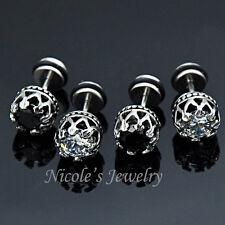 16G Stainless Steel Crown Crystal Earring Stud 1.25ct EV33