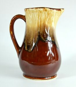 Vintage R.R.P. Co. Roseville, O. Hi Gloss Drip Brown Pitcher * Crafted in U.S.A.