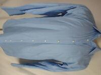 Thomas Pink Mens Blue Stripe French Cuff Cotton Dress Shirt 15.5-34