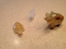 Three Sculpted Stone Animals Some Oyx Elephant Turltle Dog Miniatures