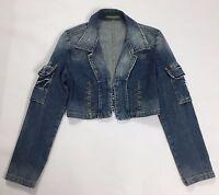 Fracomica giacca jeans top crop jacket corto donna M tg 42 denim usata blu T2143