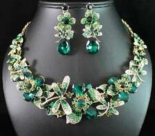 DRAGONFLY GREEN AUSTRIAN RHINESTONE CRYSTAL NECKLACE EARRINGS SET BRIDAL N1780G