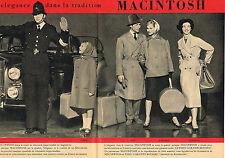 PUBLICITE ADVERTISING  1958   MACINTOSH   imperméables  ( 2 pages)
