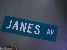 """Vintage ORIGINAL JANES AV STREET SIGN 30"""" X 9"""" WHITE LETTERING ON GREEN"""