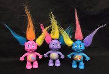 """Russ Gleeps Troll 3.5"""" Doll Alien Martian 3 Figure Lot Purple Blue Pink Vintage"""