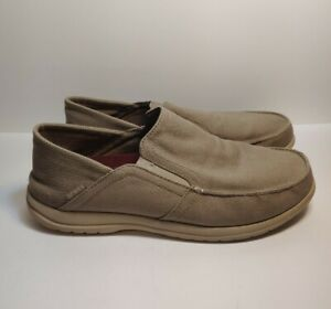 Crocs Men's US 13 Beige Tan Slip-On Loafers Shoes Triple Comfort 204834 EUC