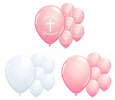 30 X 1ST HOLY COMMUNION PINK & WHITE HELIUM QUALITY BALLOONS PARTY DECORATIONS