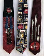 Coca Cola 100% Silk Mens Neck Ties Made In The USA (Lot Of Three)