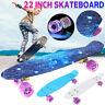 22'' Beginner Skateboard Cruiser Board Skate Chrome Bearing Flashing Wheel t