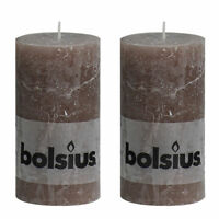 "Pack 2 Bolsius Rustic Taupe Brown Stone 130mm 13cm 5"" Pillar Candle 43 Hours"